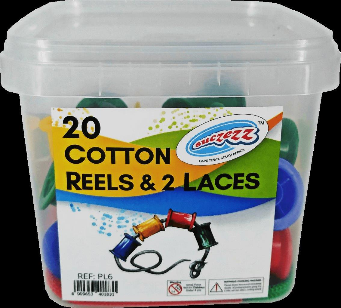 20 cotton reels with laces