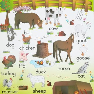 farm animals poster wall chart