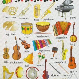 musical instruments poster wall chart