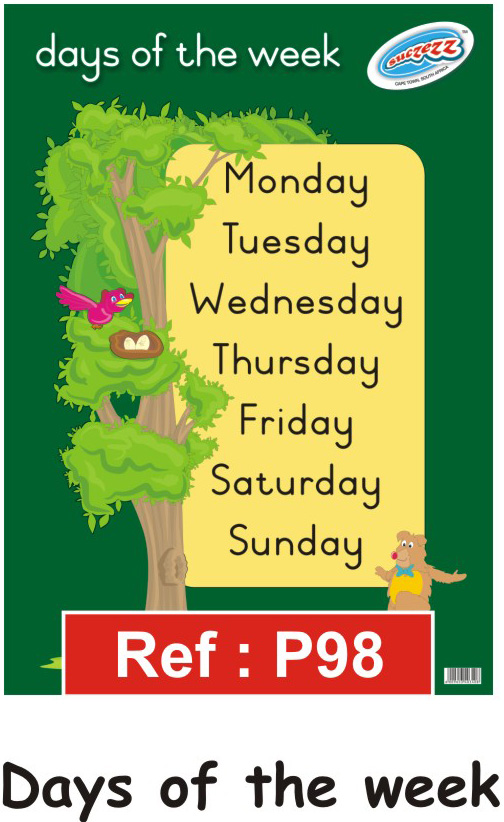 Classroom Decoration Charts For Kindergarten ~ Quot days of the week educational classroom poster