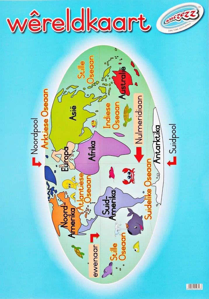 wereld wêreld kaart plakkaat