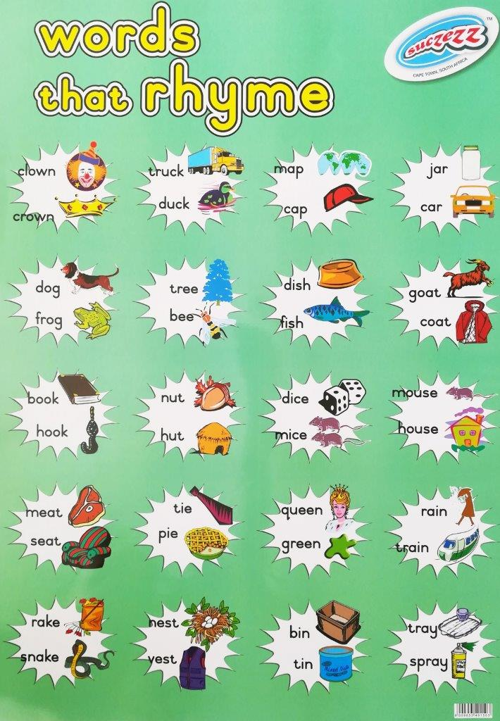 words that rhyme poster wall chart