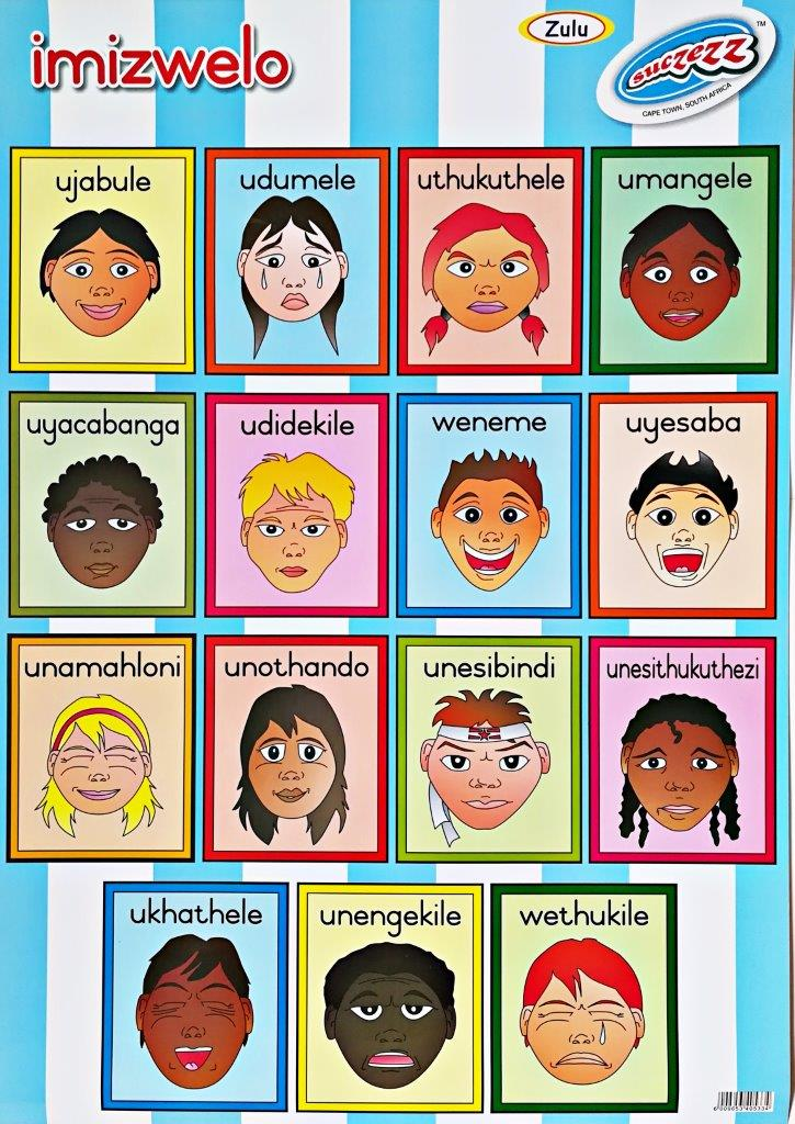 zulu feelings emotions poster wall chart