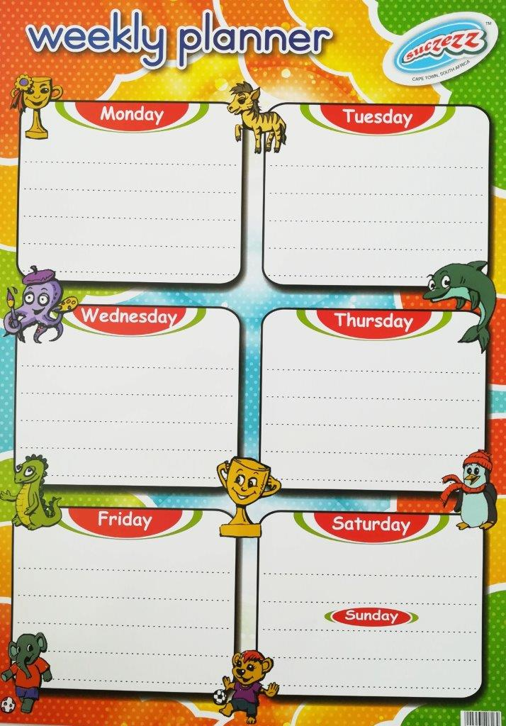 weekly planner poster wall chart