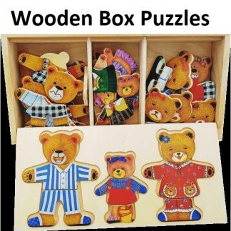 Wooden Box with Bear Puzzles