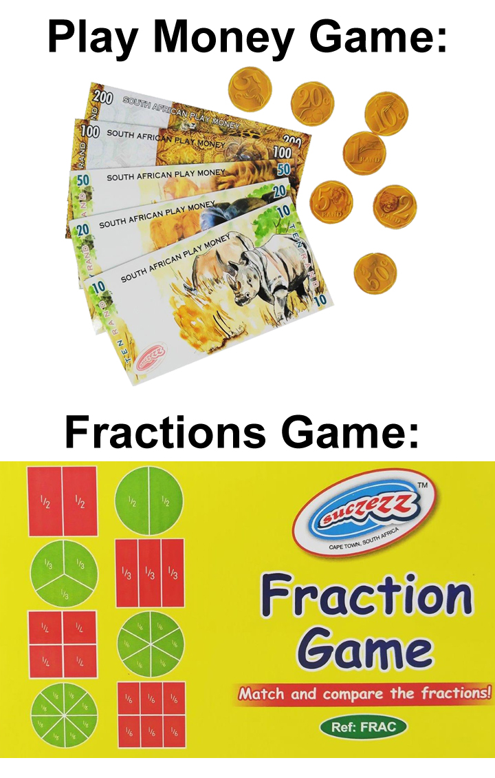 """Fraction game; Play Money game"""