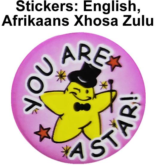 Stickers - English, Afrikaans, Xhosa, Zulu